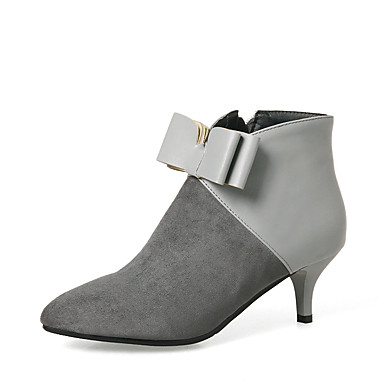 Women's Shoes Leatherette Winter Bootie Boots Stiletto Heel Pointed Toe Booties / Ankle Boots Bowknot / Zipper Black / Gray