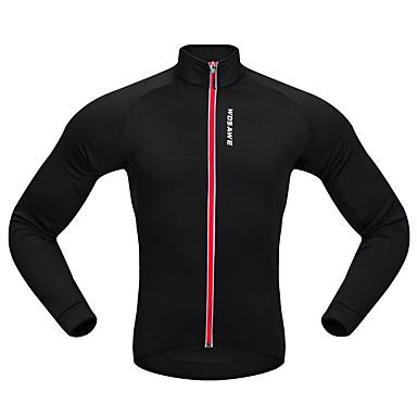 WOSAWE Long Sleeves Cycling Jersey - Black Black/Red Bike Jersey