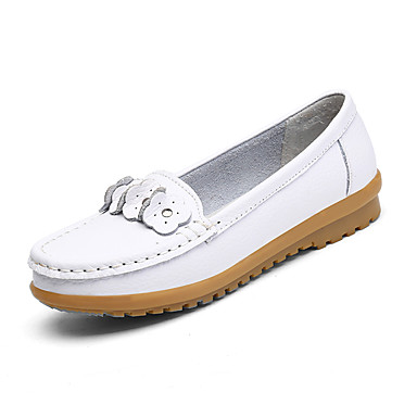 Mujer Zapatos Cuero Primavera Confort Zapatos de taco bajo y Slip-On Tacón Plano Dedo redondo Blanco / Plateado / Rosa ti10Zh