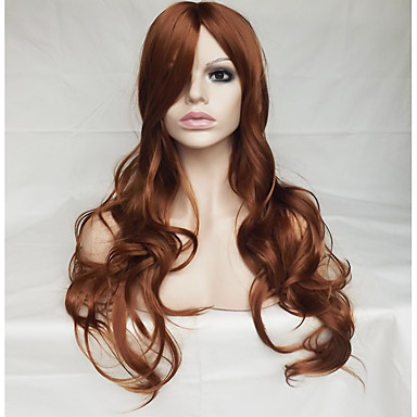 Synthetic Wig Wavy / Natural Wave Asymmetrical Haircut / With Bangs Synthetic Hair Natural Hairline Brown Wig Women's Long Capless