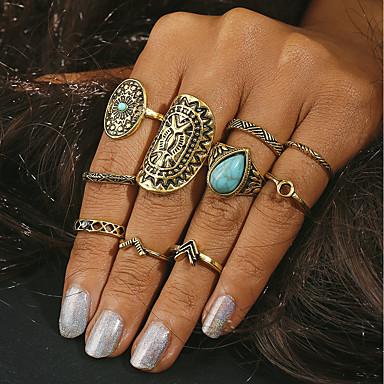 billige Motering-Dame geometriske Ring Turkis Legering Statement damer Hippie Motering Smykker Gull / Sølv Til Daglig En størrelse 10pcs