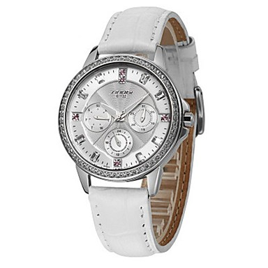 cheap Women's Watches-Women's Quartz Stainless Steel Genuine Leather Band Silver