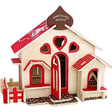 voordelige 3D-puzzels-3D-puzzels Houten puzzels Modelbouwsets Huizen Mode Huis Kinderen Nieuw Design Hot Sale Puinen 1 pcs Klassiek Modern / Hedendaags Modieus Kinderen Jongens Meisjes Speeltjes Geschenk / DHZ