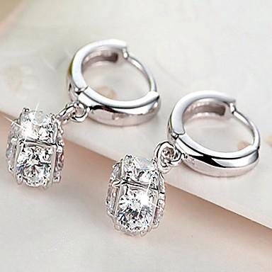Women's Cubic Zirconia Stud Earrings / Drop Earrings - Silver Plated Heart Luxury, Fashion Silver For Party / Daily