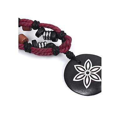 abordables Collier-Collier Choker / Ras de Cou Collier Pendentif Homme Femme Améthyste En bois Bois Fleur Noir Colliers Tendance Bijoux pour Plein Air Sortie Rond