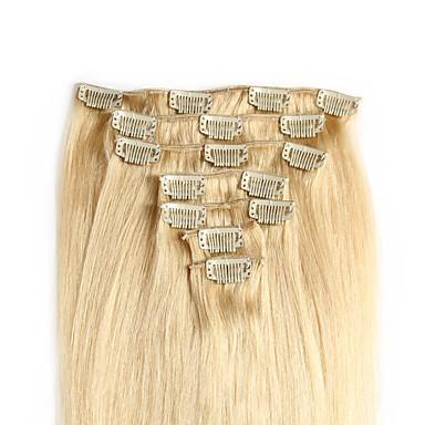 Febay Clip In Ludzkich włosów rozszerzeniach Prosta Blond Kasztanowy Brązowy Doczepy z naturalnych włosów Włosy naturalne 14-24 in 7 sztuk / opakowanie Nie p,ącze się Nie przelewa się Zdrowy koniec