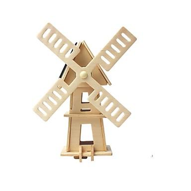 voordelige 3D-puzzels-RUOTAI 3D-puzzels Houten modellen Windmolen Op Zonne-Energie Hout 1pcs Kinderen Geschenk