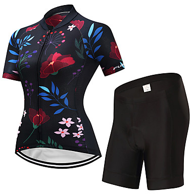 FUALRNY® Women's Short Sleeve Cycling Jersey with Shorts - Black Bike Clothing Suits, Quick Dry Lycra