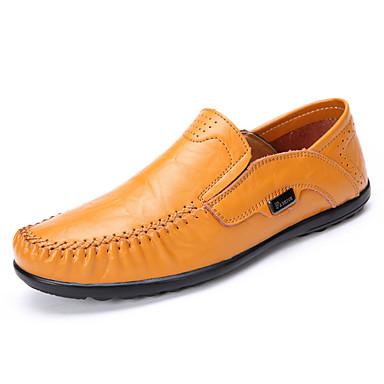 Férfi cipő Nappa Leather Ősz / Tél Mokaszin Papucsok & Balerinacipők Fekete / Sárga / Party és Estélyi
