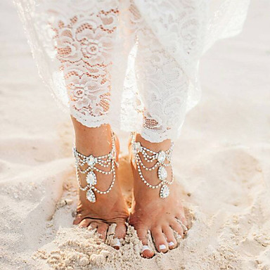 Layered Anklet - Drop Multi Layer Gold / Silver For Going out / Bikini / Women's / Rhinestone