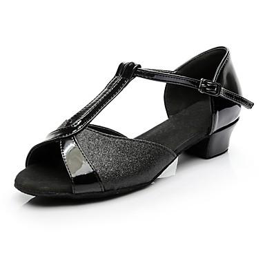 baratos Sapatos de Samba-Mulheres Paetês Sapatos de Dança Latina Salto Salto Baixo Personalizável Preto / Interior / Ensaio / Prática / EU40