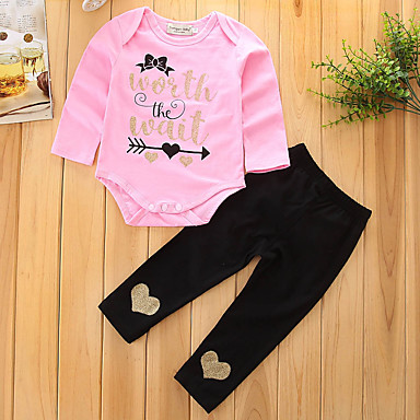 Toddler Girls' Dresswear Solid Colored Print Long Sleeve Cotton Clothing Set