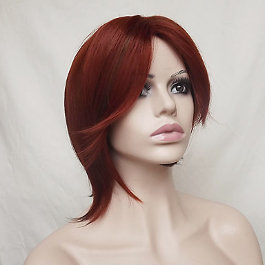 Synthetic Wig Straight Burgundy Bob Haircut / Asymmetrical Haircut / With Bangs Synthetic Hair Natural Hairline Burgundy Wig Women's Short Capless
