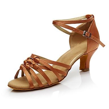 Női Latin cipők Szintetikus Magassarkúk Személyre szabott sarok Személyre szabható Dance Shoes Sötétbarna / Meztelen / Otthoni