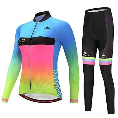 Miloto Women s Long Sleeve Cycling Jersey with Tights - Luminous Gradient Bike  Clothing Suit Winter Sports Gradient Mountain Bike MTB Road Bike Cycling ... c1087421d