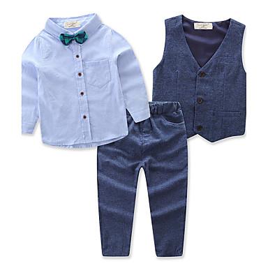povoljno Kompletići za dječake-Dijete koje je tek prohodalo Dječaci Aktivan Party Dnevno Jednobojni Dugih rukava Regularna Normalne dužine Pamuk Poliester Komplet odjeće Plava