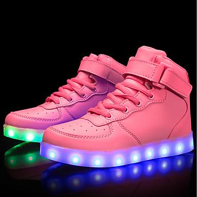 hesapli Kız Çocuk Ayakkabıları-Genç Kız Kişiselleştirilmiş Malzemeler / Yapay Deri Spor Ayakkabısı Küçük Çocuklar (4-7ys) / Büyük Çocuklar (7 yaş +) Rahat / Işıklı Ayakkabılar Yürüyüş Bağcıklı / Cırtcırt / LED Kırmzı / Mavi / Pembe