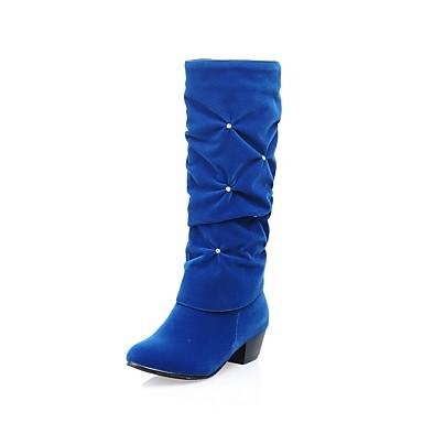 povoljno Ženske čizme-Žene Čizme Kockasta potpetica Okrugli Toe Kopča Umjetna koža Čizme do koljena Modne čizme Jesen / Zima Crn / Crvena / Plava