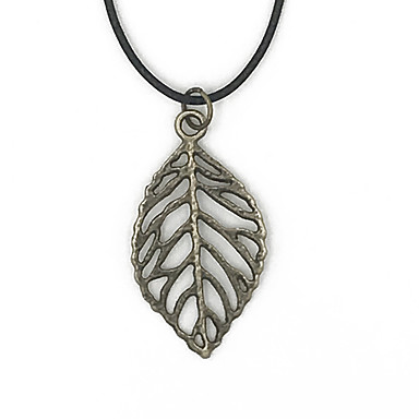 homme femme pendentif de collier forme de feuille personnalis naturel bronze colliers. Black Bedroom Furniture Sets. Home Design Ideas