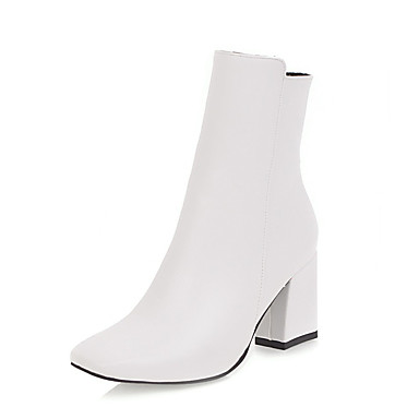 cheap Women's Boots-Women's Leatherette Winter Fashion Boots Boots Square Toe Mid-Calf Boots Zipper White / Black / Red
