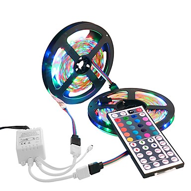 10m Light Sets 600 LEDs 3528 SMD 1 44Keys Remote Controller RGB Waterproof / Cuttable / Decorative 12 V 1set / IP65 / Linkable / Self-adhesive