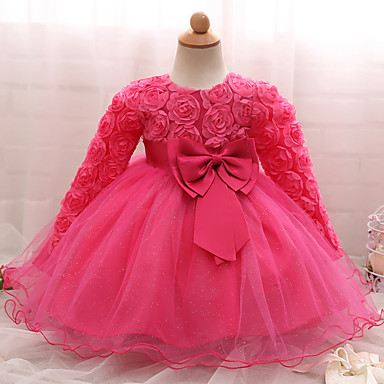 halpa Vauvojen mekot-Vauva Tyttöjen Party / Syntymäpäivä Yhtenäinen väri Pitkähihainen Normaali Puuvilla Mekko Punastuvan vaaleanpunainen