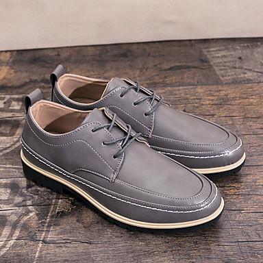 男性用 靴 PUレザー 春 秋 コンフォートシューズ オックスフォードシューズ 編み上げ のために カジュアル ブラウン ブラック ダックグレー