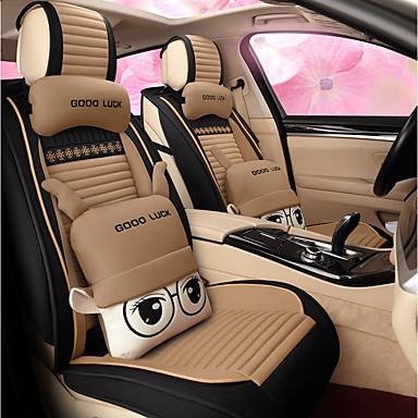 voordelige Auto-interieur accessoires-5 zitplaatsen cartoon autokussen voor dames mooie stoel / airbag compatibiliteit / vier seizoenen universeel / beige / twee kussens en twee taille pads