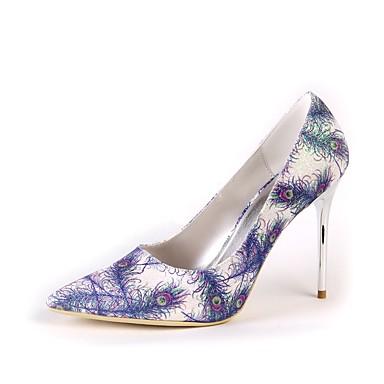 Női Selyem Tavasz / Ősz Magasított talpú Esküvői cipők Tűsarok Erősített lábujj Toll Arany / Világoskék / Party és Estélyi