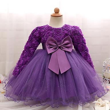 Недорогие Платья для малышей-малыш Девочки Для вечеринок / День рождения Сплошной цвет Длинный рукав Обычная Хлопок Платье Розовый
