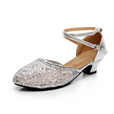 Női Modern cipők Csipke / Csillogó flitter Magassarkúk Csat Kubai sarok Dance Shoes Arany / Fekete / Ezüst / Professzionális