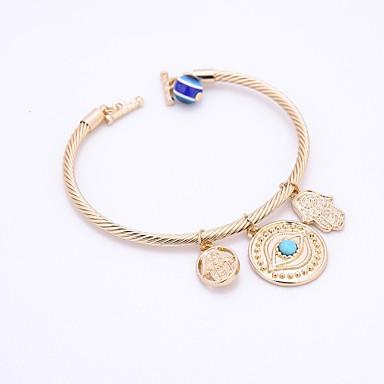 voordelige Herensieraden-Heren Dames Synthetische Aquamarijn Bangles Armband Kwaad oog Vintage Elegant Legering Armband sieraden Goud / Zilver Voor Feest Causaal