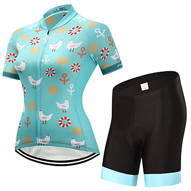 FUALRNY® Women's Short Sleeve Cycling Jersey with Shorts - Green Bike Clothing Suits, Quick Dry Lycra