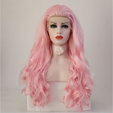 Synthetic Lace Front Wig Body Wave Pink Synthetic Hair Natural Hairline Pink Wig Women's Long Lace Front Pink+Red