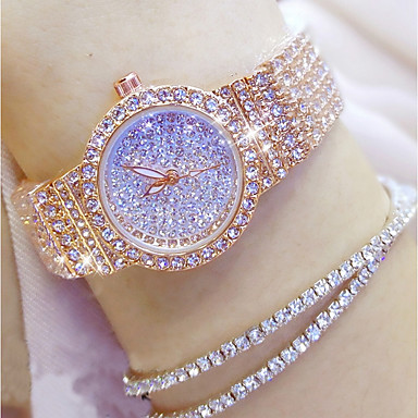 baratos Relógios Senhora-Mulheres Relógios Luxuosos Relógio de diamante Relogio Dourado Japanês Quartzo Aço Inoxidável Prata / Dourada / Ouro Rose 30 m Relógio Casual Analógico senhoras Amuleto Fashion Bling Bling - Dourado