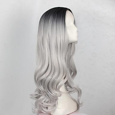 povoljno Perike i ekstenzije-Sintetičke perike Wavy Stil Capless Perika Crna / siva Sintentička kosa Žene Siva Perika Dug