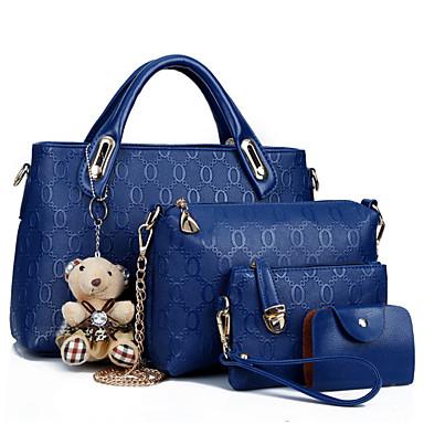Buy Women Bags PU Bag Set 4 Pieces Purse Zipper Casual Seasons Blue Black Red Beige Yellow
