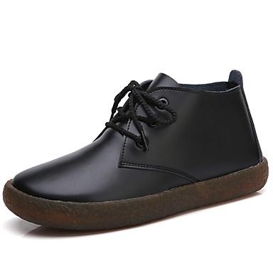 Női Cipő Nappa Leather Ősz / Tél Közepesen magas szárú bakancs / Katonai csizmák Csizmák Bokacsizmák Fűző Fehér / Fekete