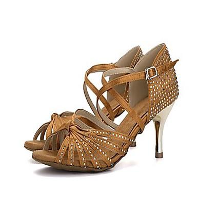 Pentru femei Pantofi Dans Latin Satin Călcâi Piatră Semiprețioasă / Cristal Toc Înalt Pantofi de dans Negru / Maro / Rosu / Profesional