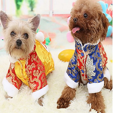 be7fca017401 Cat Dog Coat Jumpsuit Dog Clothes Color Block Yellow Blue Cotton Costume  For Winter Cosplay New Year's