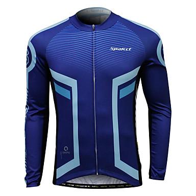 SPAKCT Férfi Hosszú ujj Keréspáros dzsörzé - Kék és fekete Bike Dzsörzé, Ultraibolya biztos Coolmax®