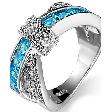 Χαμηλού Κόστους Μοδάτο Δαχτυλίδι-Γυναικεία Ζαφειρένιο Cubic Zirconia Γεωμετρική Δαχτυλίδι για τη μέση των δαχτύλων Δαχτυλίδι αρραβώνων Ζιρκονίτης Μοδάτο Δαχτυλίδι Κοσμήματα Πράσινο / Μπλε Απαλό / Βαθυγάλαζο Για