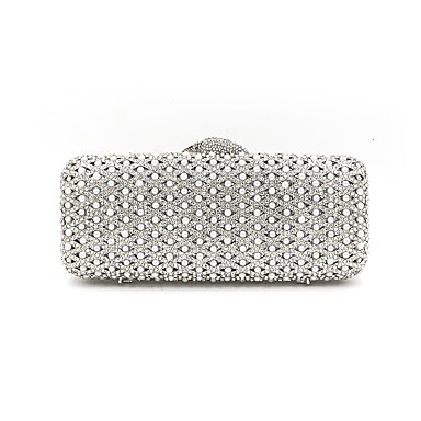 Women's Bags Alloy Evening Bag Crystals Geometric Silver / Rhinestone Crystal Evening Bags / Wedding Bags / Rhinestone Crystal Evening Bags / Wedding Bags