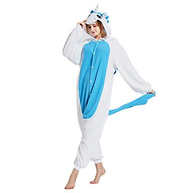 Pijama Kigurumi Unicorn Pijama Întreagă Costume Lână polară Albastru Cosplay Pentru Sleepwear Pentru Animale Desen animat Halloween