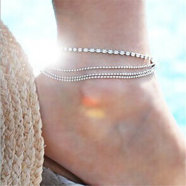 Layered Anklet - Multi Layer Silver For Party / Going out / Women's / Rhinestone
