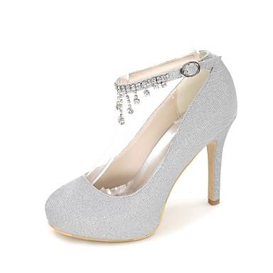 Printemps Aiguille Argent Strass Basique rond 06414095 Eté mariage Chaussures Brillante Paillette Bout Escarpin Chaussures Femme de Talon t6wHqPZnn