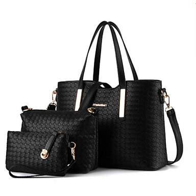 0085ad56ec8d Women s Bags PU(Polyurethane) Bag Set 3 Pcs Purse Set Zipper Black   Silver    Wine