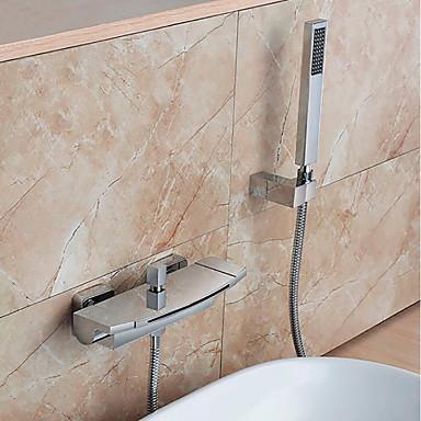 Bateria wannowa - Nowoczesny Chrom Ścienny Zawór ceramiczny Bath Shower Mixer Taps / Mosiądz