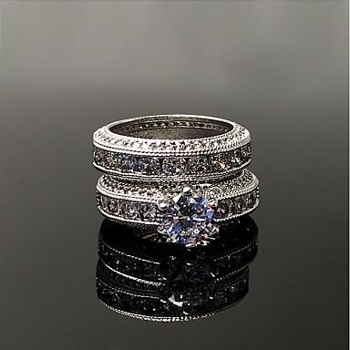 Damskie Cyrkonia Rhinestone Srebro standardowe Cyrkonia Band Ring - Vintage Elegancki Silver Pierścień Na Ślub Zaręczynowy Ceremonia