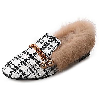 Damen Schuhe Stoff Winter Komfort Loafers & Slip-Ons Runde Zehe Kariert Für Normal Weiß Schwarz